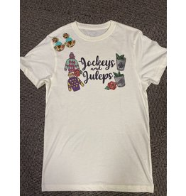 Jockey and Juleps Pale Yellow T- Shirt/Medium
