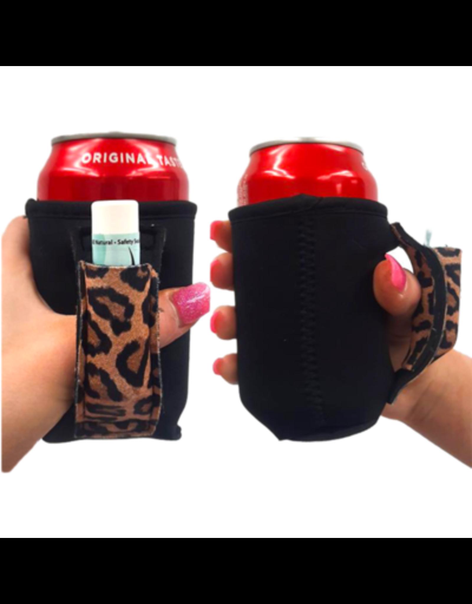 12 oz can pocket holder black/leopard