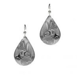 Silver Pewter Earrings - Hummingbird Teardrop Bill Helin