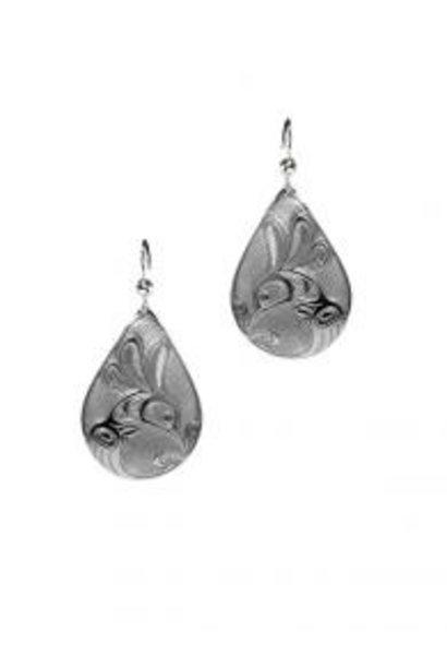 Silver Pewter Earrings - Hummingbird Teardrop Bill Helin
