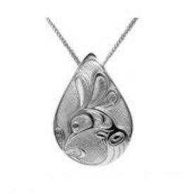 Silver Pewter Pendant Hummingbird Teardrop