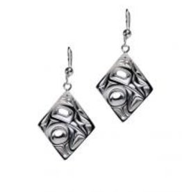 Silver Pewter Earrings / Diamond shape/Hummingbird - Bill Helin
