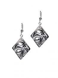 Silver Pewter Earrings / Diamond shape/Hummingbird - Bill Helin-1