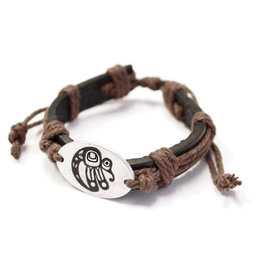 Pewter Leather Bracelet