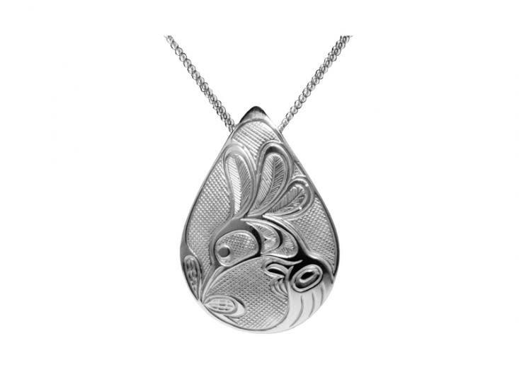 Silver Pewter Pendant Hummingbird Teardrop-2