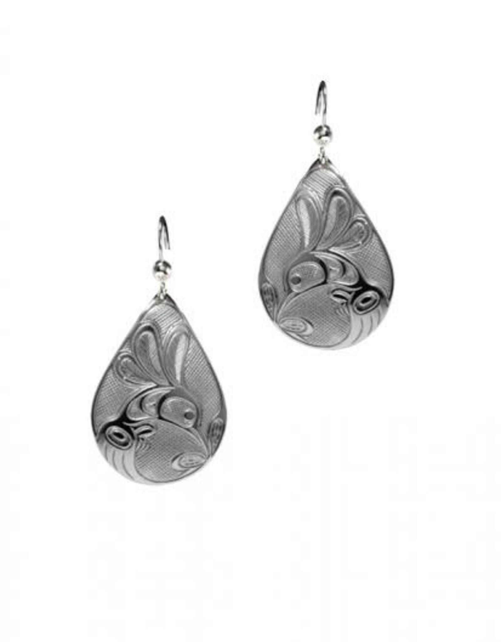 Silver Pewter Earrings - Hummingbird Teardrop