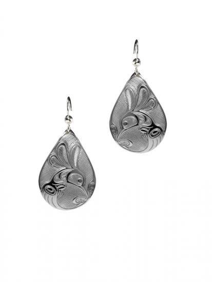 Silver Pewter Earrings - Hummingbird Teardrop-2