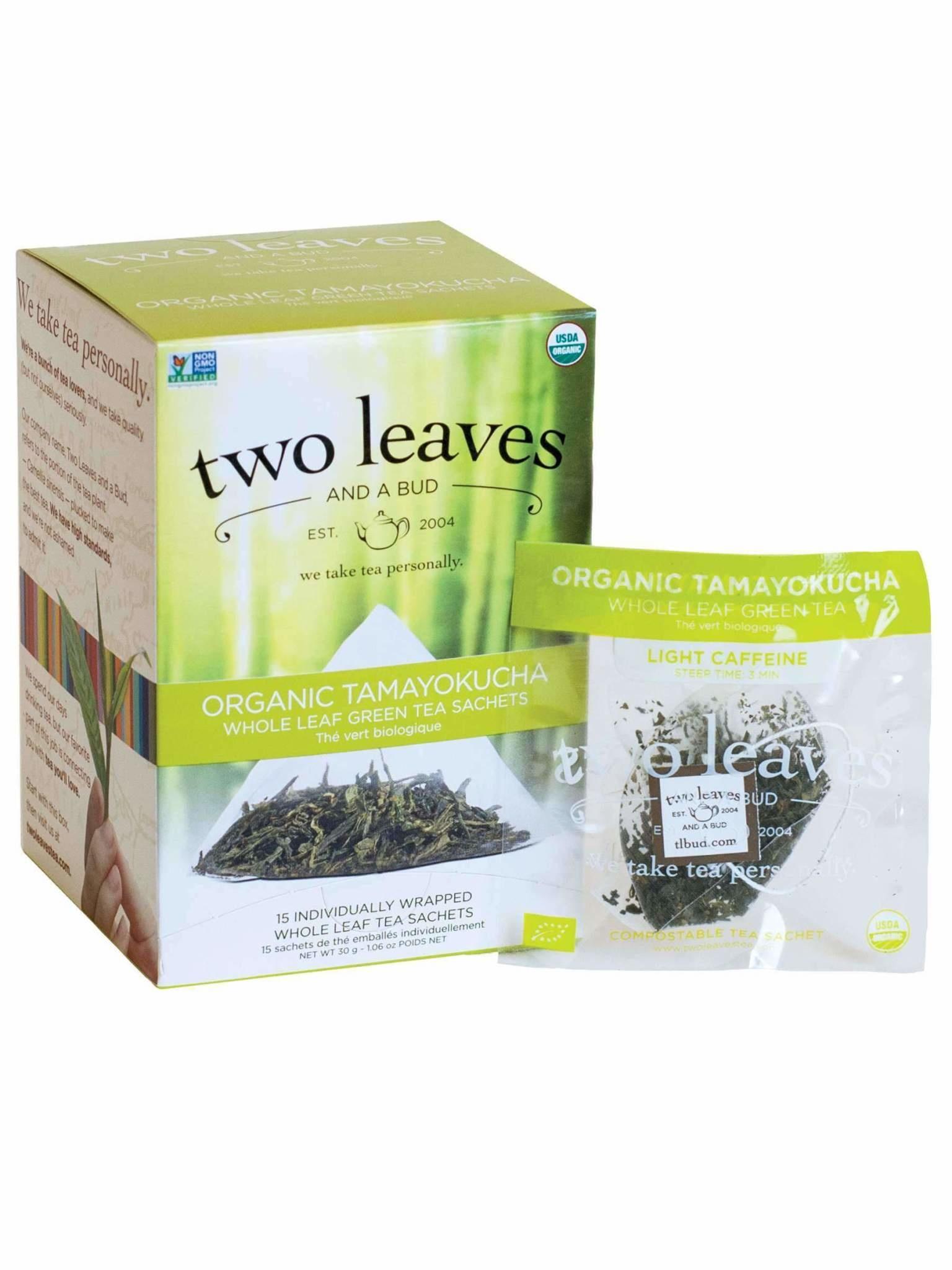 Two Leaves and a bud-Organic Tamayokucha Whole leaf green tea sachets-1