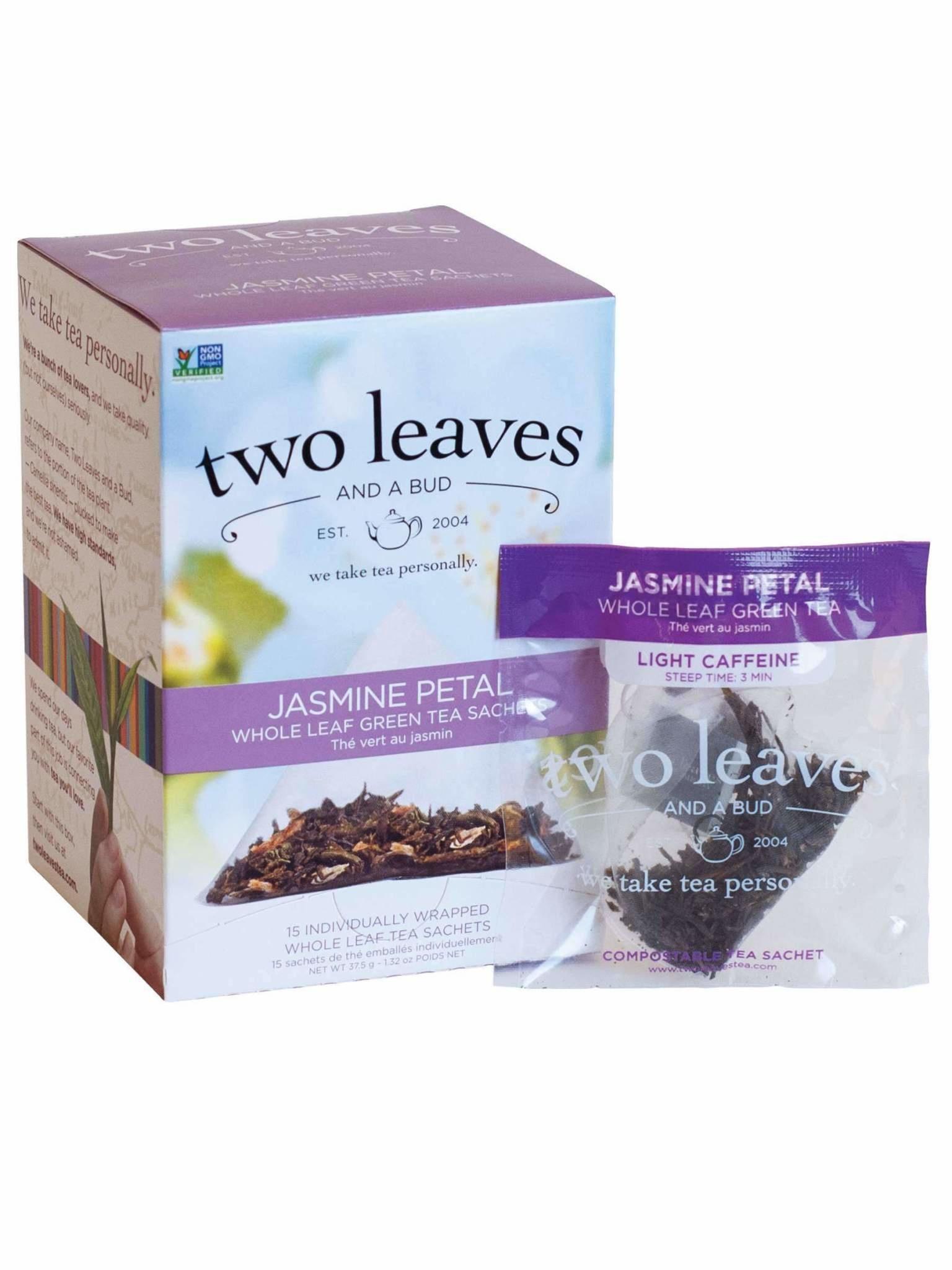 Two Leaves and a bud Jasmine Petal Whole leaf Green Tea Sachets 15ct-2