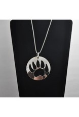 Silver Carved Bear Paw Pendant -BPN