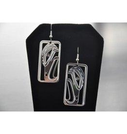 Silver Carved Raven Earrings-02RL