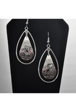 Silver Carved Hummingbird Earrings-