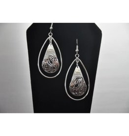 Silver Carved Hummingbird Earrings-