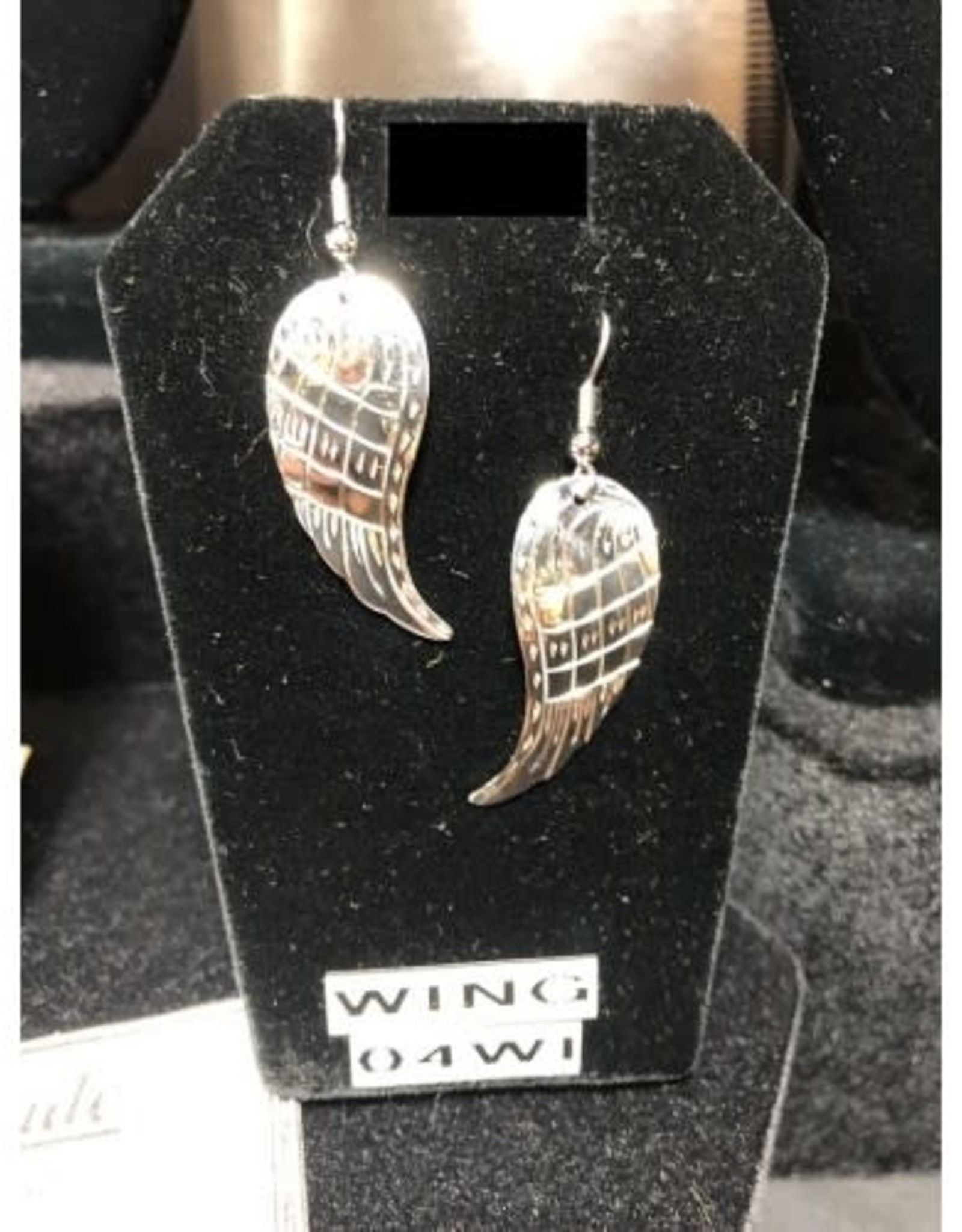 Silver Carved Wing Earrings-04WI