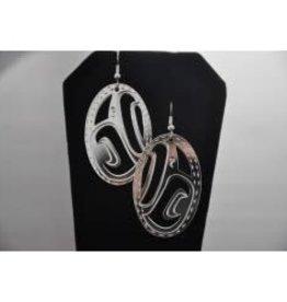 Silver Carved Raven Earrings-PHRA