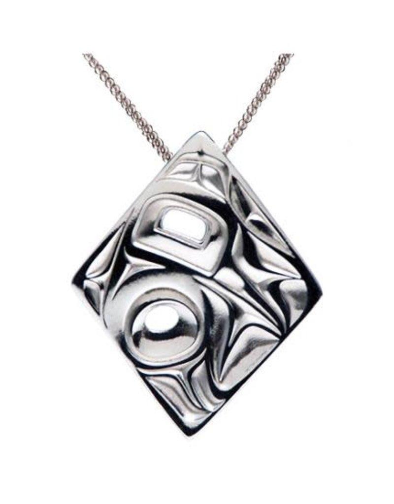 Silver Pewter Pendant - Hummingbird Diamond