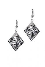 Silver Pewter Earrings / Diamond shape/Hummingbird - Bill Helin