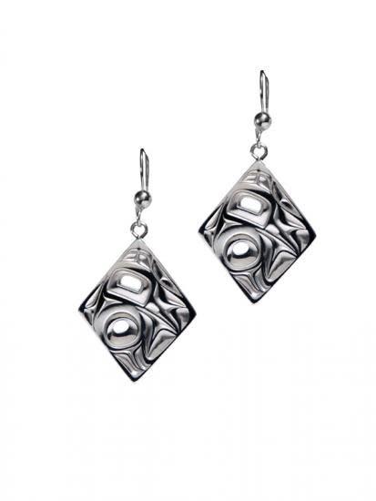 Silver Pewter Earrings / Diamond shape/Hummingbird - Bill Helin-2