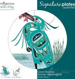 "Plate - Green Heron & Serenity Hummingbird ea. 7.5"""