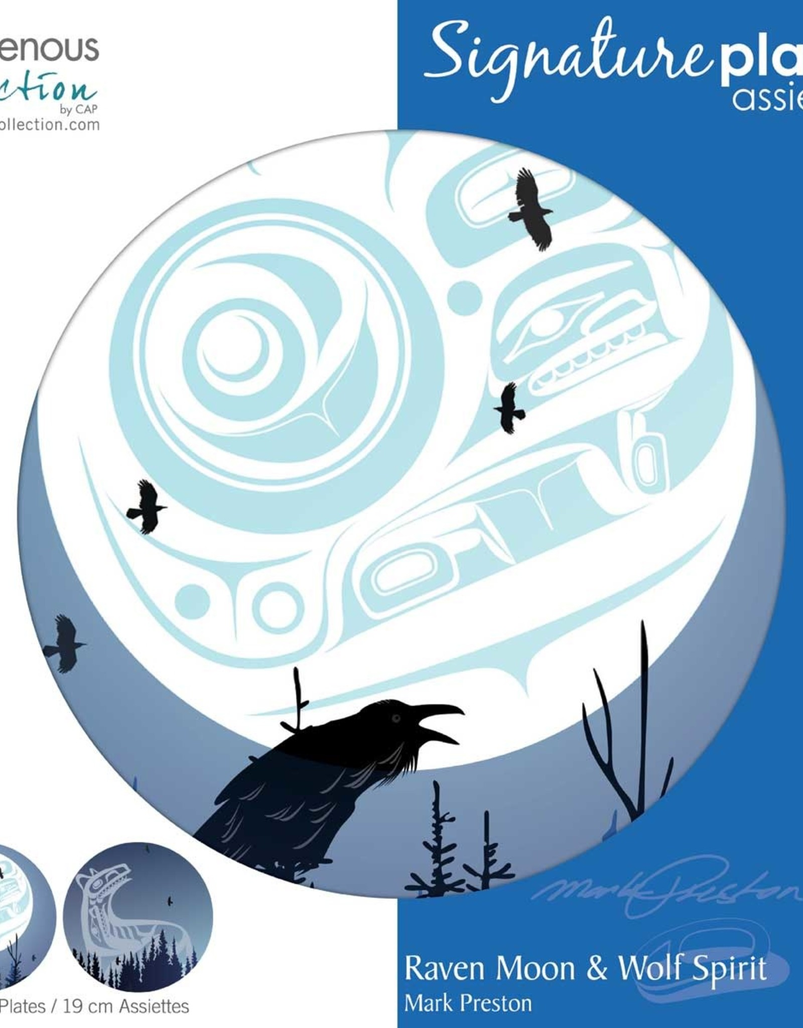 "Plate - Raven Moon & Wolf Spirit ea. 7.5"""