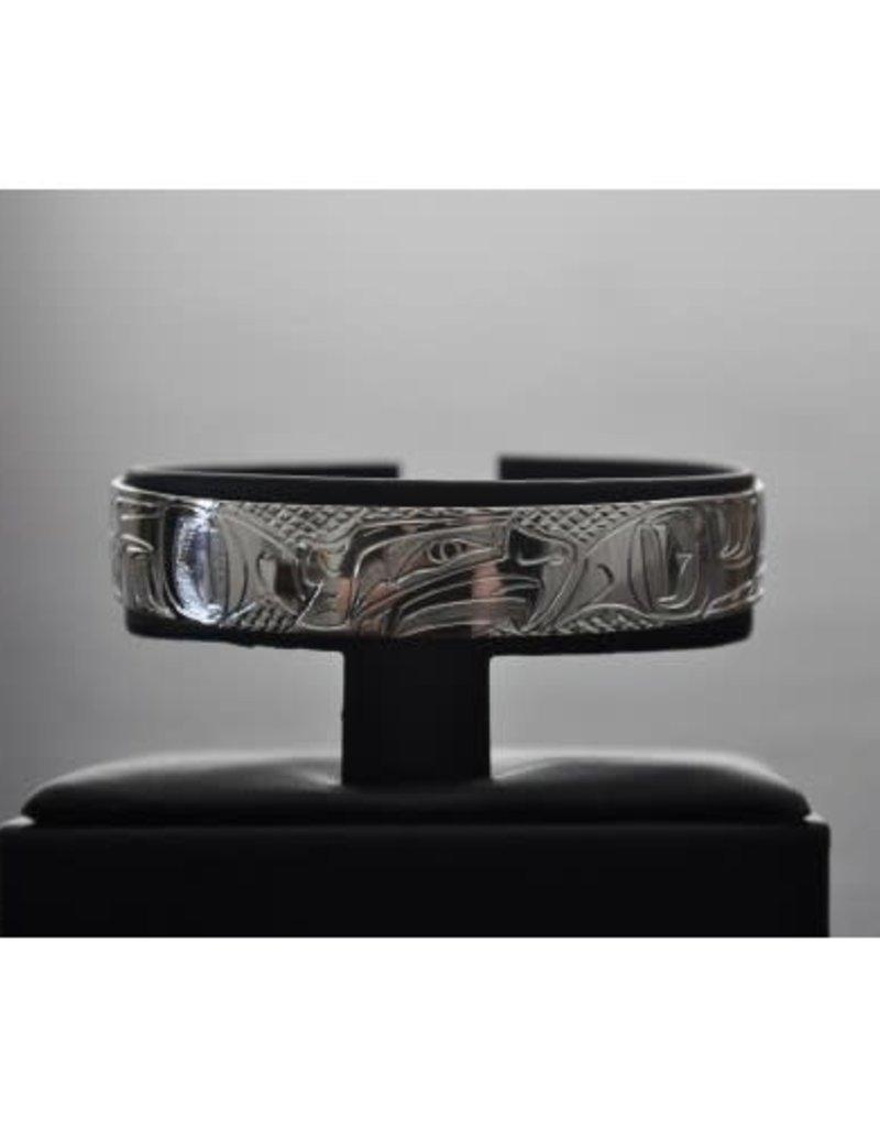 Silver Carved Bracelet - Silver Eagles