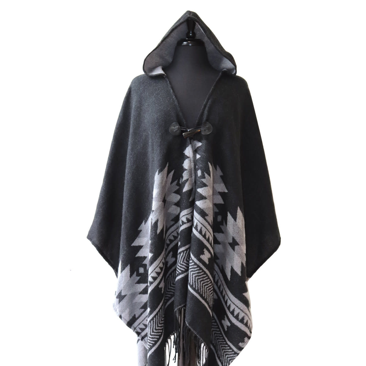 Hooded Fashion Wrap - Vision of Our Ancestors by Leila Stogan-1
