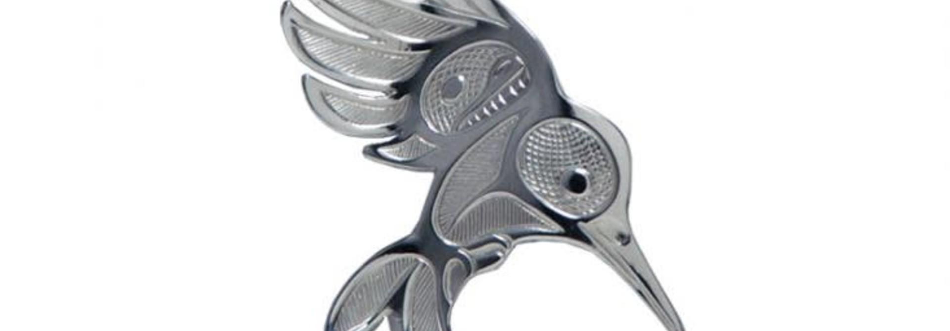 Silver Pewter Humminbird in Flight Brooch
