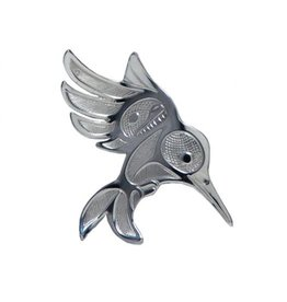 Silver Pewter Humminbird in Flight Brooch