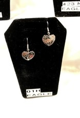 Silver Carved Eagle Earrings-01H
