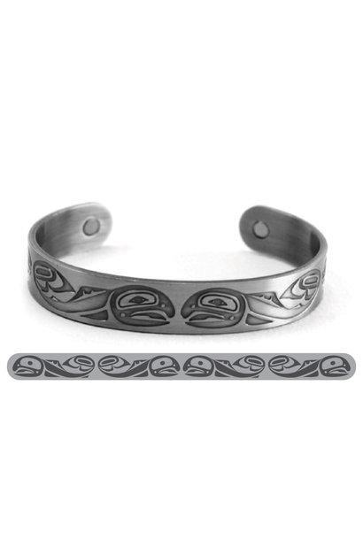 Brushed Silver Bracelet-Salmon-Paul Windsor