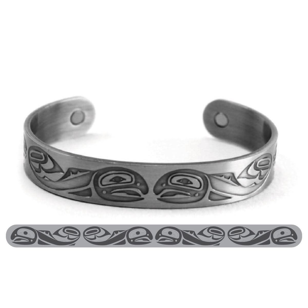 Brushed Silver Bracelet-Salmon-Paul Windsor-1