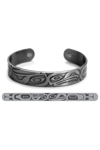 Brushed Silver Bracelet -Eagle Raven- Corey W. Moraes