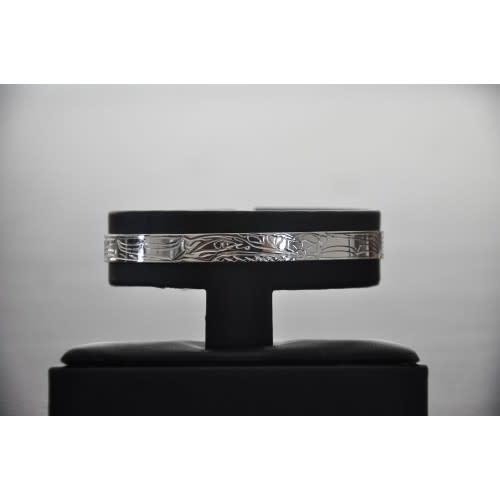 """Silver Carved Bracelet 1/4"""" - Eagle-1"""