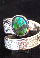 """Silver Cast Wrap Ring w Ammolite """"Honor Our Mother"""""""