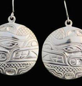 Silver Cast Round Earrings Bear Design by Jadeon Rathgeber