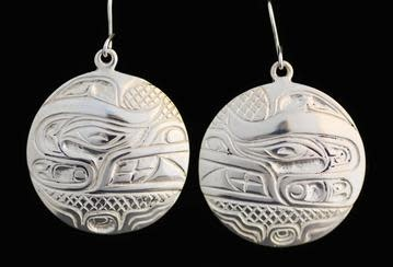 Silver Cast Round Earrings Bear Design by Jadeon Rathgeber-1