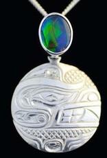 Silver Cast Pendant Bear w Ammolite stone
