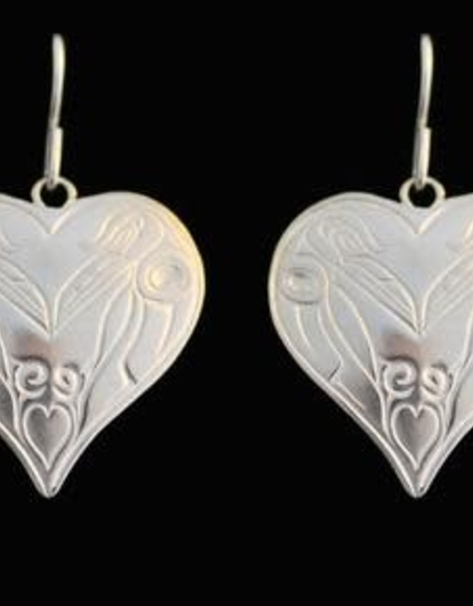 Silver Cast Raven Heart Earrings by Artist Jadeon Rathgeber