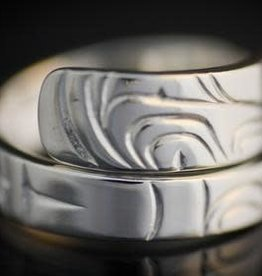 Silver Cast Wrap Ring - Eagle / Human by Artist Jadeon Rathgeber