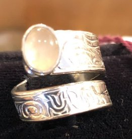 Silver Cast Wrap Ring with Moonstone inlay Artist Jadeon Rathgeber