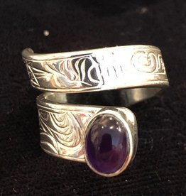Silver Cast Wrap Ring with Amethyst Stone Artist Jadeon Rathgeber