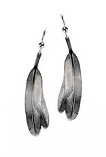 Silver Pewter Eagle Feather Earrings