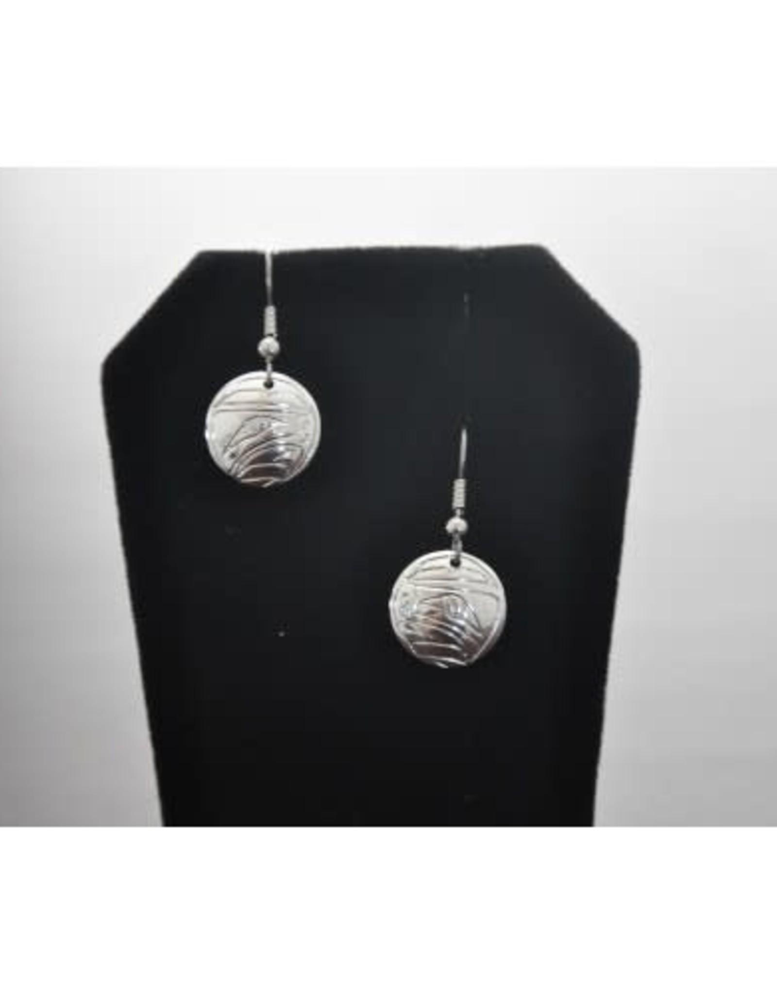 Silver Carved Eagle Earrings by Nancy Dawson