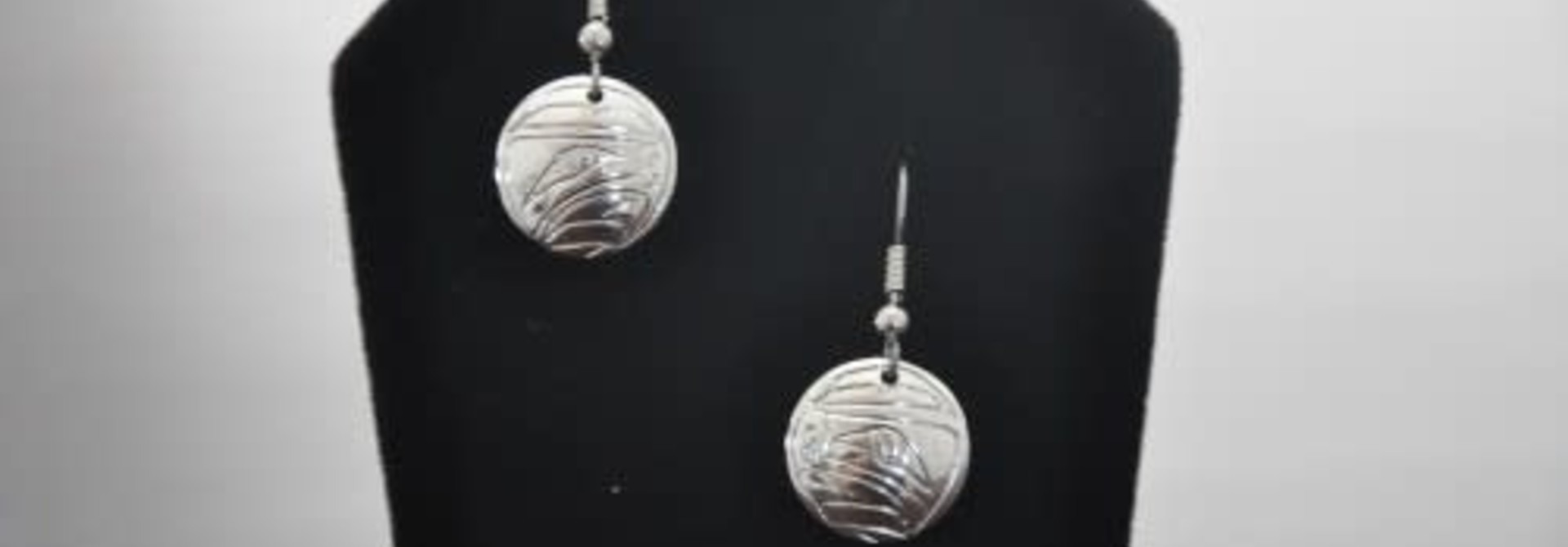 Silver Carved Eagle Earrings by Nancy Dawson