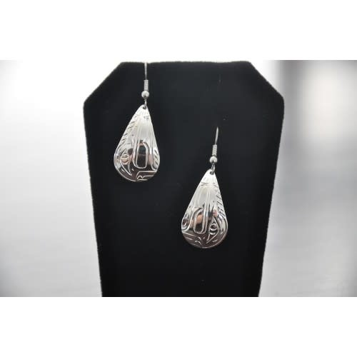 Silver Hand Carved Hummingbird Earrings by Vincent Henson-1