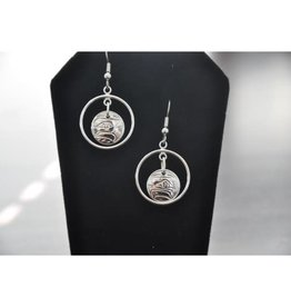 Silver Hand Carved Eagle Earrings by Vincent Henson