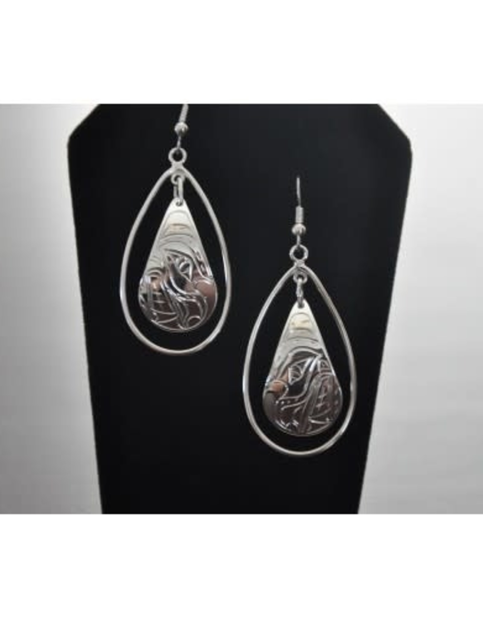 Silver Hand Carved Hummingbird Earrings by Vincent Henson