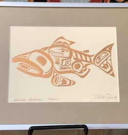 "Matted framed print ""Haida Salmon"" by Bill Reid"