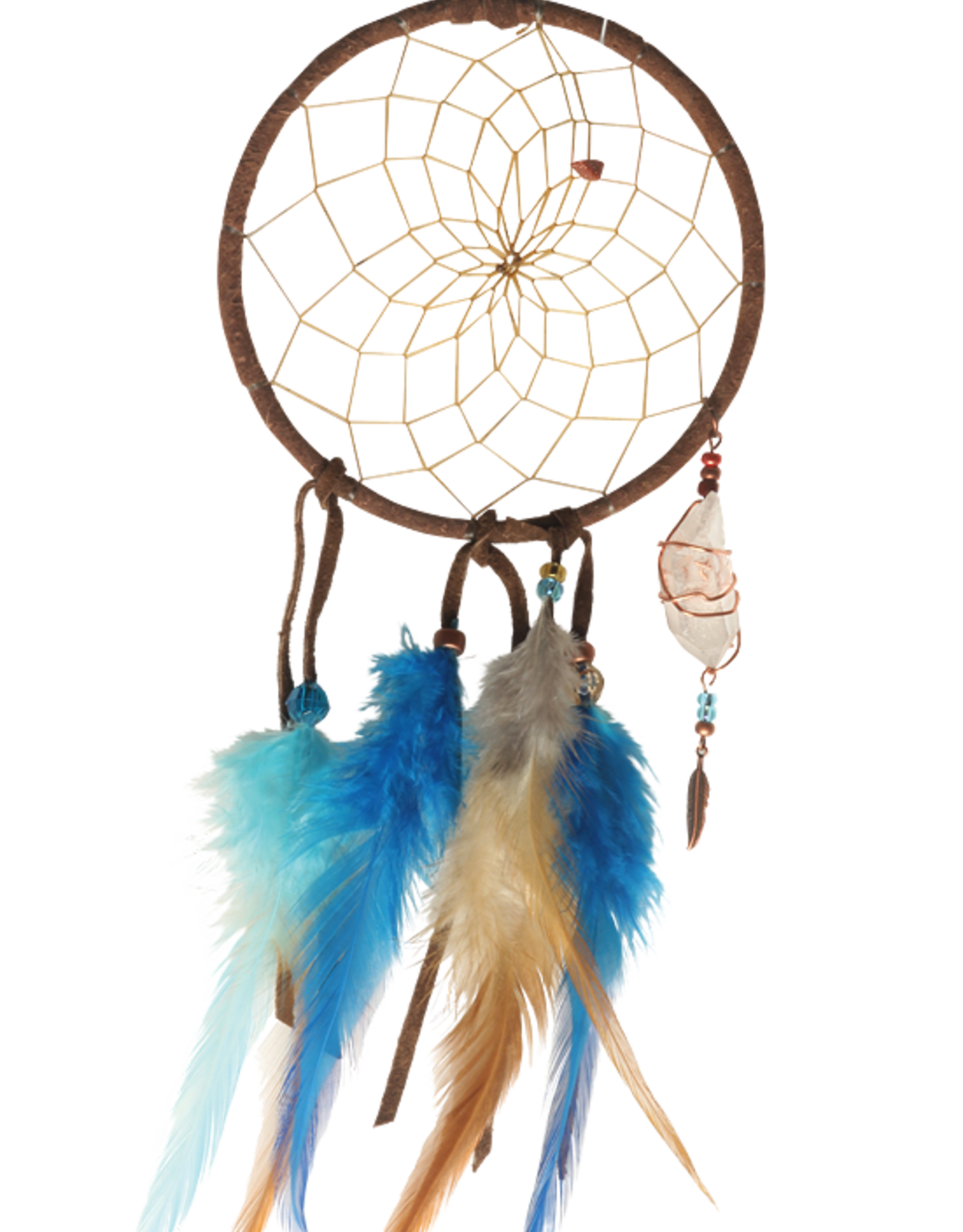 """4"""" Brown and Turquoise Magical Dream Catcher detailed with quartz crystal"""