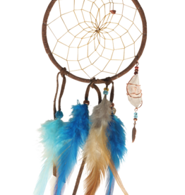 "4"" Brown and Turquoise Magical Dream Catcher detailed with quartz crystal"